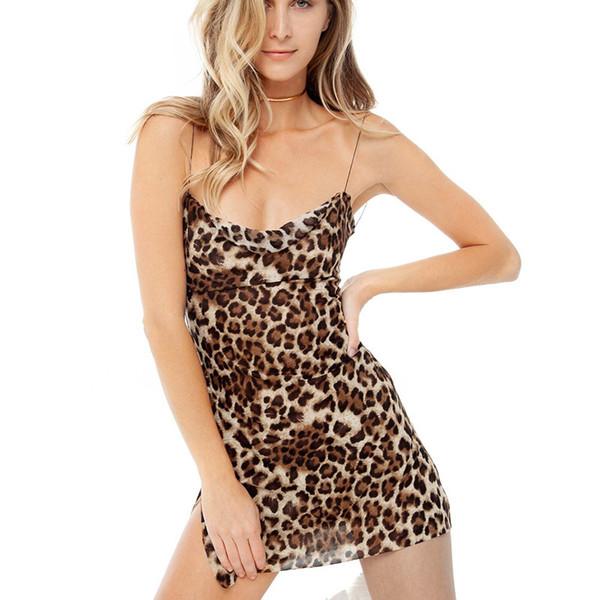 2019 Yeni Marka Kadınlar Seksi Parti Elbiseler Yaz Baskılı Leopar Mini Etek Seksi Ince Kısa Halter Backless Elbise Moda Kulübü Elbise