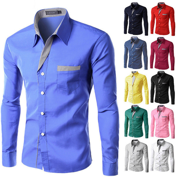 2018 Yeni Moda Marka Camisa Masculina Uzun Kollu Gömlek Erkekler Kore İnce Tasarım Örgün Rahat Erkek Elbise Gömlek Boyutu M-4XL C18122701