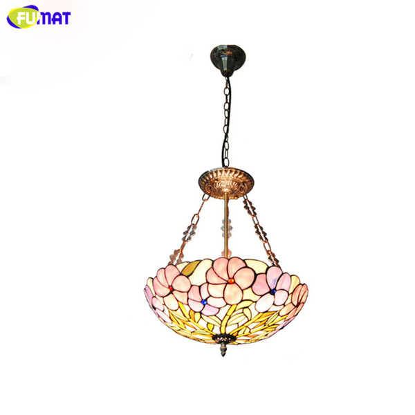 FUAMT Tiffany Floral Chandeliers Brief Pastoral Stained Glass Light For Living Room Dning Room Purple Flowers Home Decor Lamps
