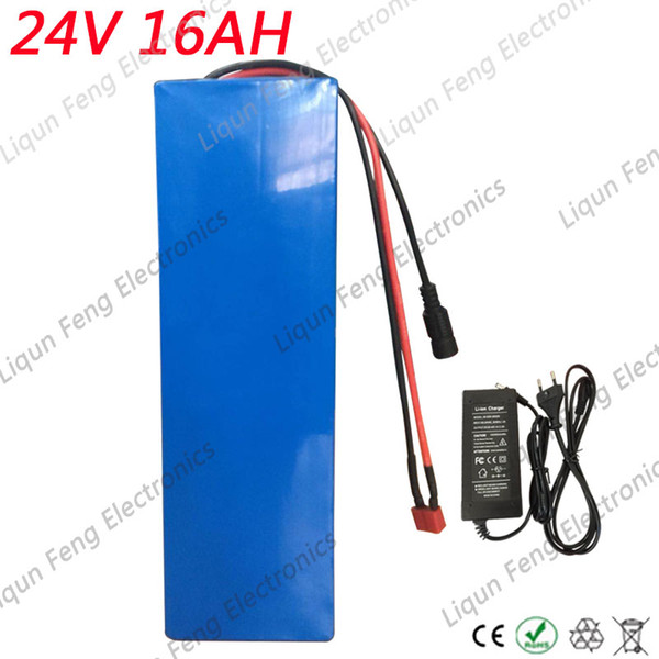 EU US No Tax 350W 24V 16AH Electric Bicycle Battery Lithium ion Battery Pack 24V for EBike 24V with 20A BMS +2A Charger Shipping