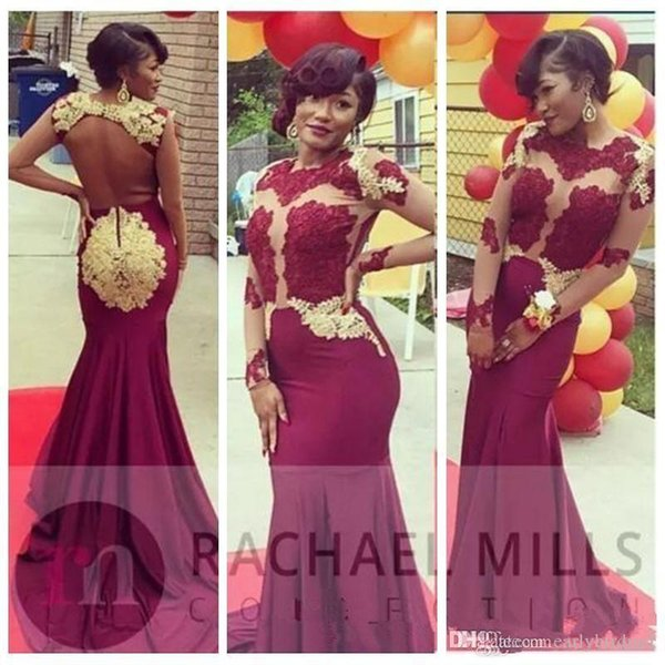 2019 New Burgundy Mermaid Prom Dresses Long Sleeves Sexy Illusion Bodices Open Back Evening Dresses Gold Lace Formal Party Gowns