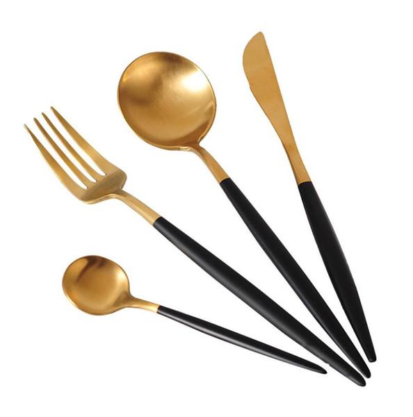 Alta calidad Elegante plateado dorado Vajilla Cubiertos Occidentales 304 Cubiertos de acero inoxidable Cubiertos de carne Cuchara de café Conjunto al por mayor