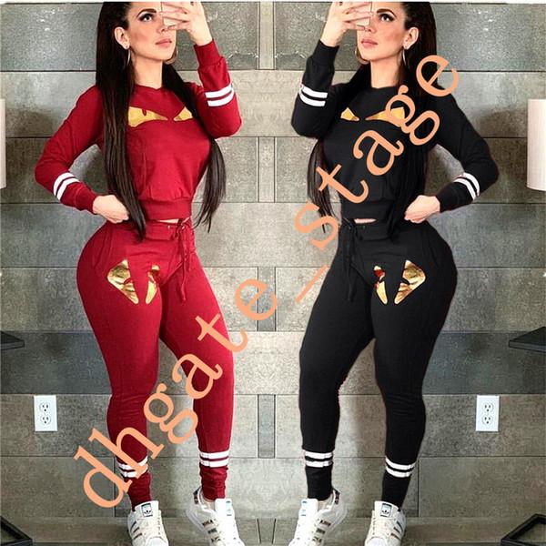 FF Donne Tuta autunno mostro lungo Outfits T Shirt manica Pants Legging vestito a due pezzi femminile Fends calda di perforazione sportivo A12102