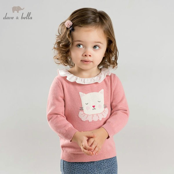 DBM9443 dave bella spring knitted sweater infant baby girl long sleeve pullover kids toddler tops children knitted sweater