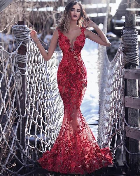 Tony Chaaya robes de bal de sirène longues 2019 dentelle applique cou pure v robes de soirée formelles robes de soirée robe robes de soirée