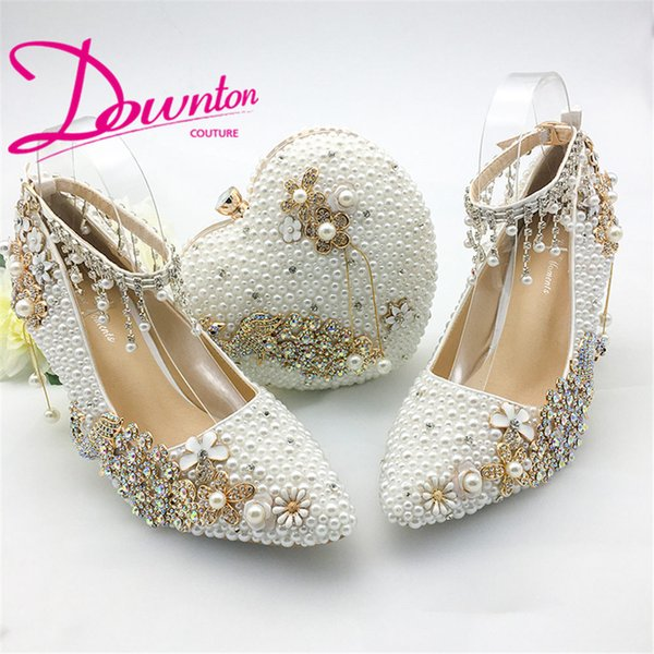 Downton Handmade Pearls flower Wedding Shoes and hand clutch bag set ankle straps Bridal Shoes Prom Party pointed toe heels 6cm size 34-43