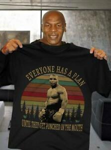 Mike Tyson Boxer Everyone has A Plan T-Shirt Camicia uomo cotone nero S-6XL
