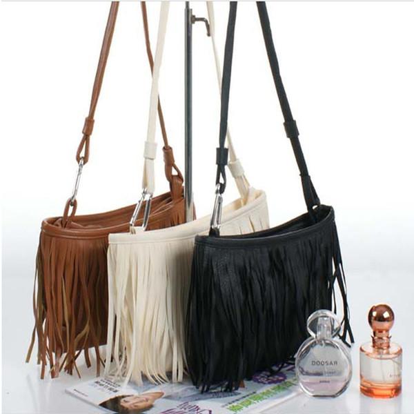 Cheap New Hot Sale!! Womens Tassle Tassel Fringe Faux Suede Shoulder Messenger Crossbody Bag Handbag Purse Black Brown White