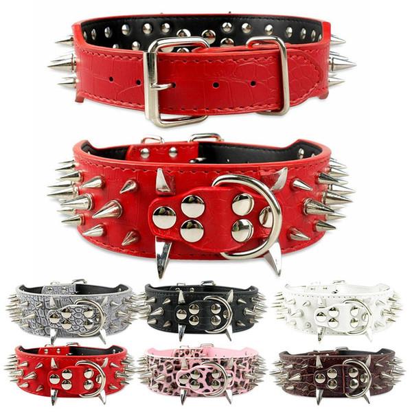 2 polegada de couro falso cravado cravejado rebite cão de estimação coleira para Pitbull Bulldog Dog Collar moda ajustável