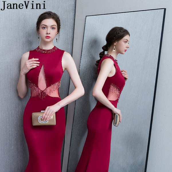 JaneVini 2019 Burugndy Mermaid Evening Dresses Long Beadings Women Beaded Event Party Dress Sexy Tight Fitted Jewel Satin Formal Prom Gowns