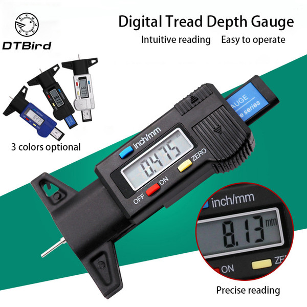 Высокоточный цифровой измеритель глубины протектора Автоматический датчик износа давления в шинах Инструменты для измерения безопасности автомобиля Электронный штангенциркуль