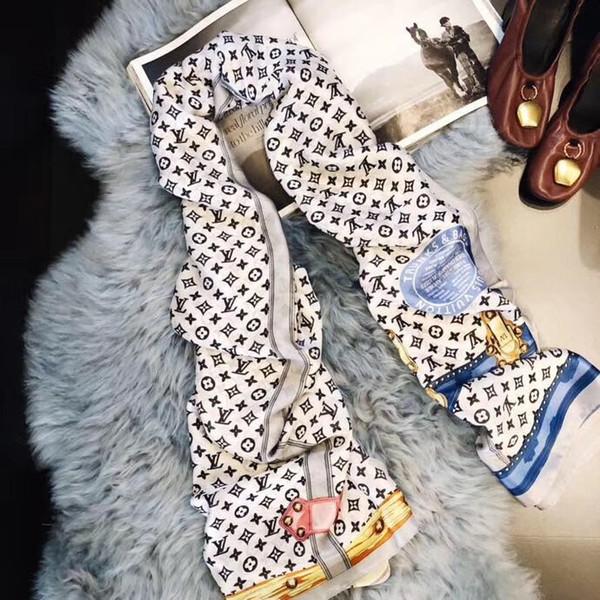 Foulard en soie de créateur de luxe de marque nouvelle été femmes foulard mode foulard femme châle doux bandana de soie 9 style