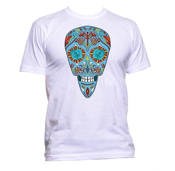 Sugar Skull Blue Coloured Design T-Shirt Mens Womens Unisex Fashion Slogan Gift hoodie hip hop t-shirt jacket croatia leather tshirt