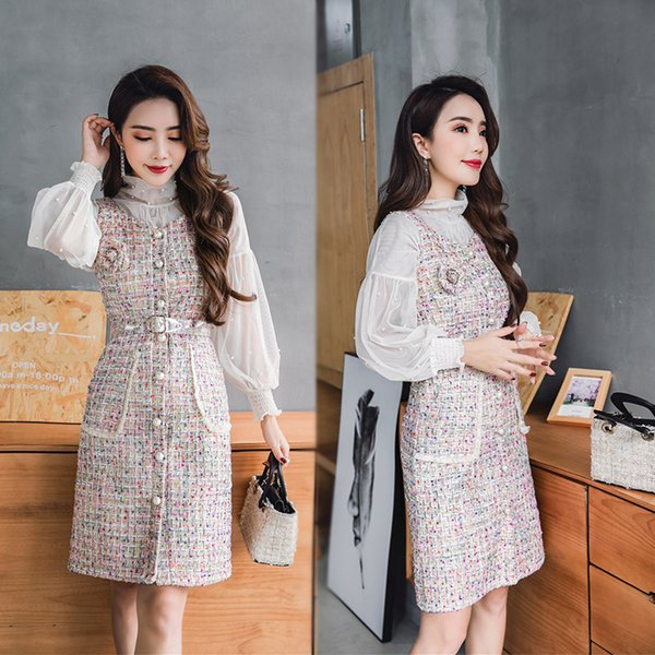 2019 spring Fashion new women's turtleneck chiffon beading blouse and spaghetti strap tweed woolen elegant single breasted dress 2 pcs suit