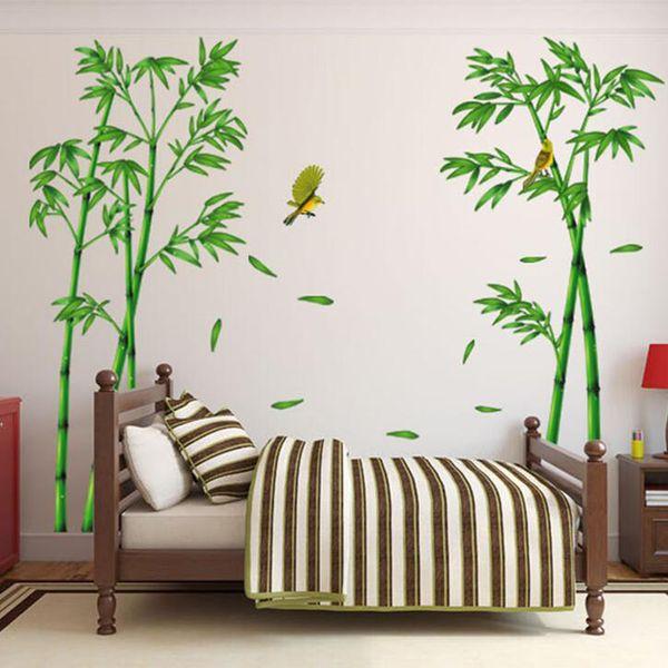 2pcs/set Bamboo Forest Birds Large Size Wall Sticker Home Decor Bedroom Wardrobe TV Sofa Wall Poster PVC DIY Art Mural Wallpaper