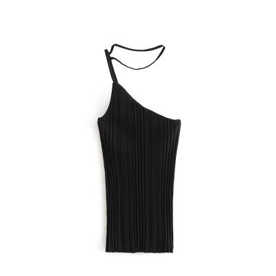 2019 New Apprival Women Summer USA Blogger Short Crop Tops Sexy Ladies Tank Top Riding Silm One Shoulder Camisole