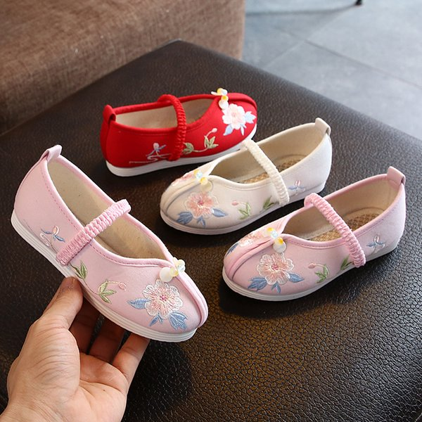 Autumn/spring children's cloth shoes sneakers girls ancient Hanfu shoes Chinese style dance shoes students perform