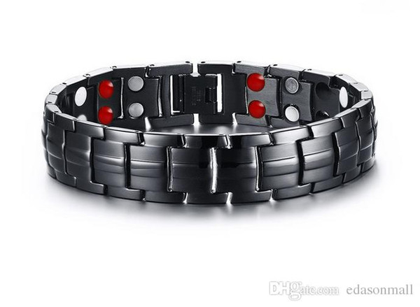 Free DHL Men's Double Row Bracelet Bangle Stainless Steel Therapy Bracelet Male Energy Magnetic Health Bracelet Fashion Jewelry Gift B811S F