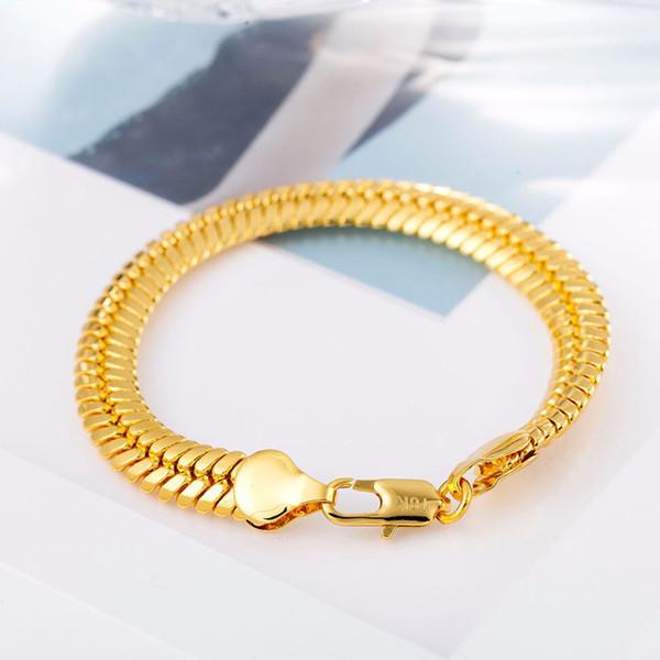 Männer 9mm Echt 18 Karat Gelbgold Überzogene Handkette Armband Hohe qualität Hip-Hop Gold Snake Link Armbänder für Männer