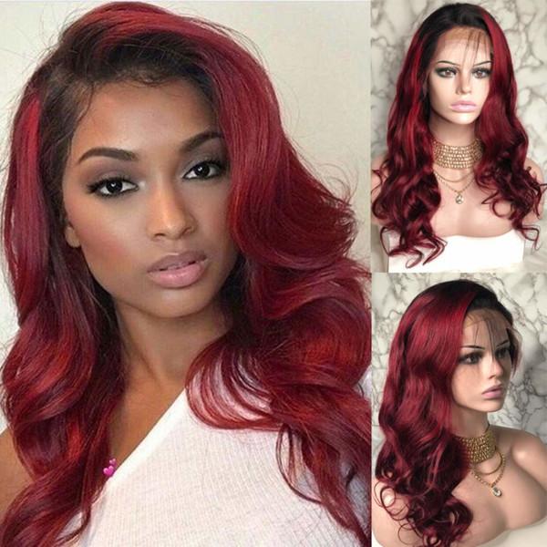 Deux tons Ombre Bourgogne Full Lace Wigs perruques de cheveux humains T1b 99j corps ondulé péruvien vierge de cheveux de vin rouge 150% densité avant de lacet