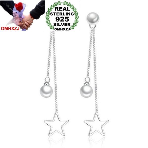 OMHXZJ Wholesale Jewelry Sweet Fashion joker for Woman Gift pentagram Pearl 925 Sterling Silver Long Tassel Stud Earrings YS270