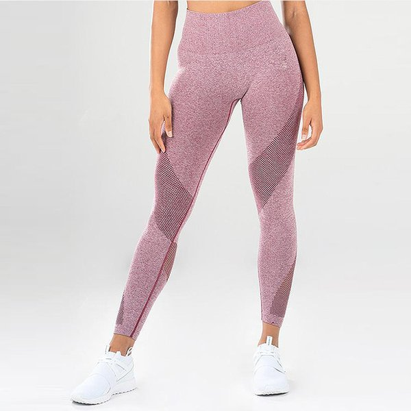SALSPOR Fitness Women Sport Leggings High Waist Push Up Yoga Pants Mesh Patchwork Tight Gym Leggings Female Workout Leggings Y200106