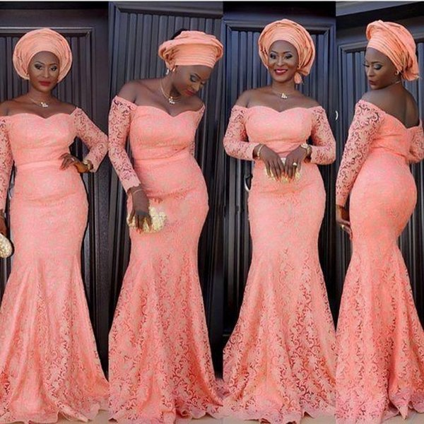 Aso Ebi Style Coral Formal Evening Dresses Long Sleeves Off Shoulder Mermaid Coral Lace 2018 Plus Size Arabic Mother of the Bride Gowns