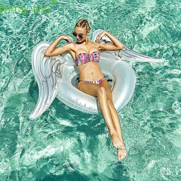 New stely inflável asas de anjo decoração de camas flutuantes festas na praia grandes círculos de natação do sexo feminino