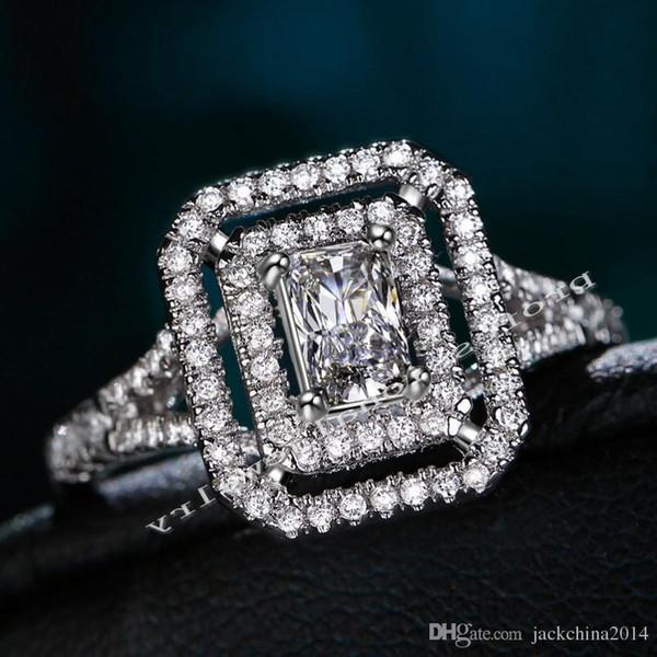 Victoria Wieck Gioielli di lusso Novità 10KT Oro bianco riempito Topazio bianco Diamante simulato Anello di fidanzamento per donna Anello da donna Taglia 5-11
