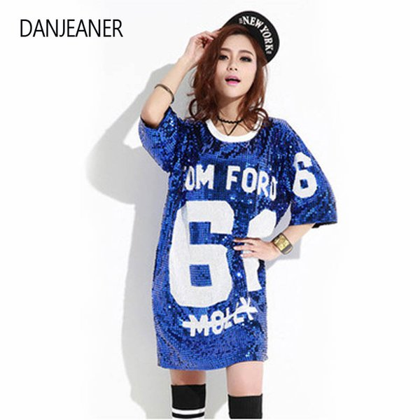 DANJEANER Woman Club Hip Hop Sequin T Shirt Loose Tee Shirts Glitter Tops Christmas girls Fashion Short Sleeve O Neck T Shirts
