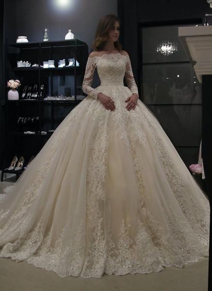 top popular Off the Shoulder Long Sleeve Ball Gown Wedding Dresses 2019 robe de mariee Bead Lace Corset Wedding Dress Bridal Gowns vestidos de noiva 2021