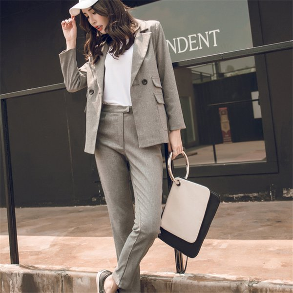 Women Suit Gray Casual Blazer & High Waist Office Lady Notched Jacket Pant Suits Korean Femme 2 pieces set Y190921