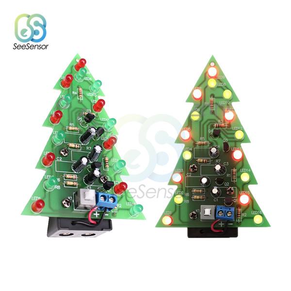 10Pcs Christmas Tree LED DIY Kit Red Green Flash Light LED Flash Circuit Kit Electronic Fun Suite Holiday Decoration