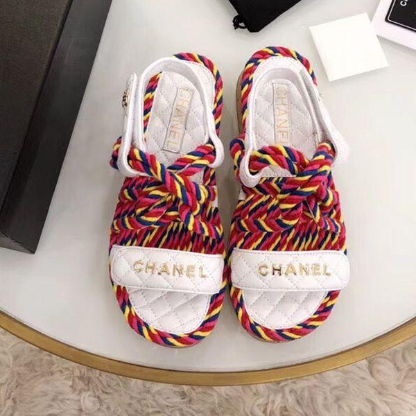 Moda designer de luxo mulheres sapatos casuais verão Praia sandálias lisas Cor combinando corda de cânhamo Sandálias de madeira de fundo de alta qualidade