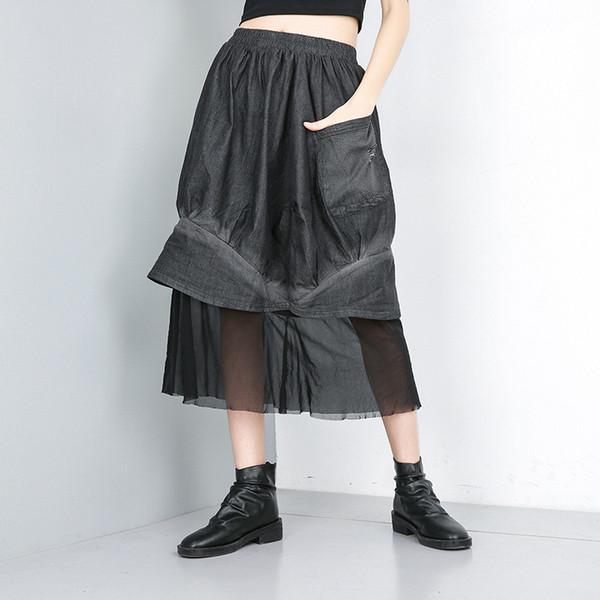 Sommer 2019 Streetwear Röcke Frauen Denim Schwarz Patchwork Mesh Einfarbig Weiblichen Rock Mode Mittlere W ...