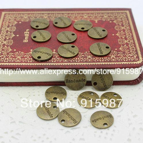Sweet Bell 100pcs Fashion Jewelry Findings,metal tags for jewelry,Alloy Antique Bronze 14MM handmade plate letter charms 4A554