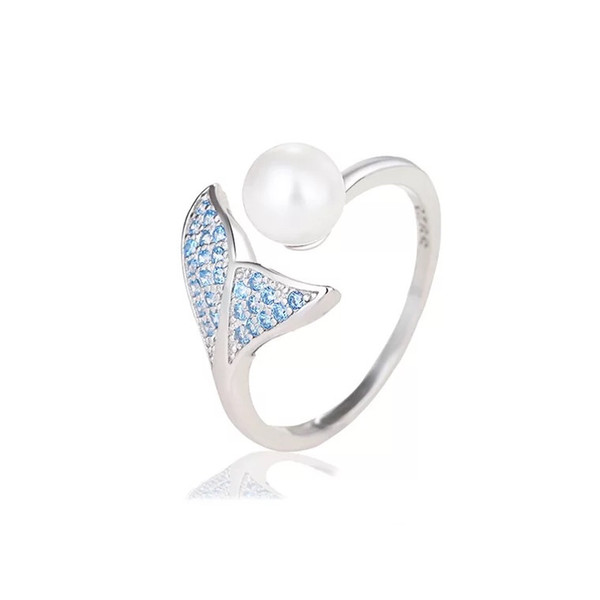 925 Sterling Silver and Pearl Rings Open Adjustable Size Mermaid Tail Zircon and Crystal Luxury Women Rings