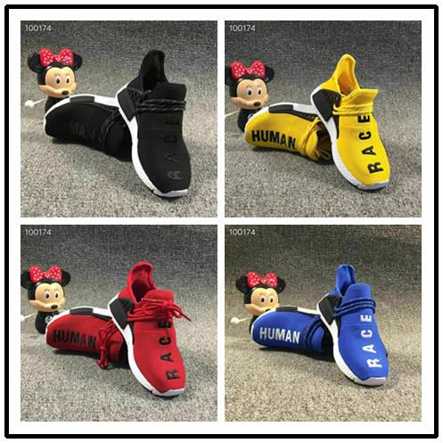Pharrell Williams Infant Human Race Kids running shoes Yellow toddlers athletic SPORT Trainers Children boys girls sneakers Core Black Whit