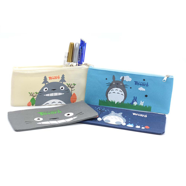 Cute Kawaii Fabric Pencil Case Lovely Cartoon Totoro Pen Bags For Kids Gift School Supplies Free Shipping