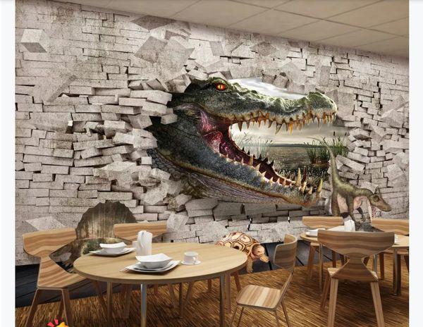Benutzerdefinierte 3D Fototapete Seidentapete Crocodile Dinosaur Turtle 3D Malerei Wohnzimmer Schlafzimmer Hintergrundbild Tapete für Wände 3d