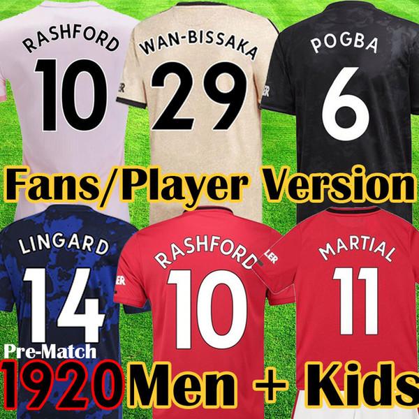 Maillot Manchester United 2019 2020 LUKAKU MARTIAL POGBA rouge rose unie maillot de football RASHFORD enfants maillots kit Maillot De Football 19 20 Top Qualité équipement