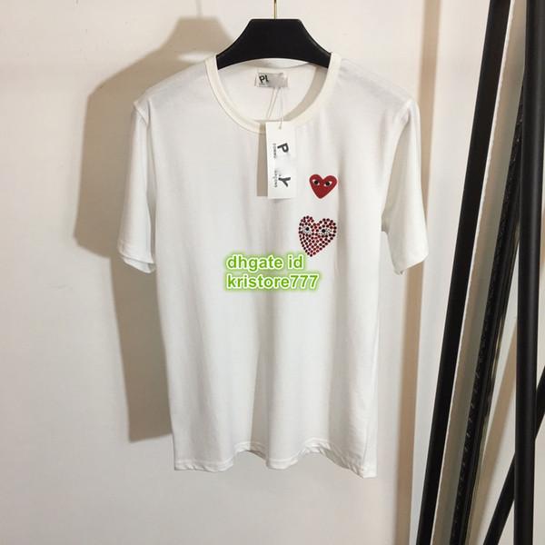 2019 New Hearts Mulheres Carta Impresso Strass Tee Curto T-Shirt Tops Camisa O High-End Personalizado Algodão de Manga Curta Tee das Mulheres S-L