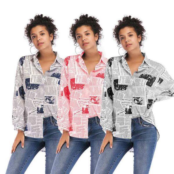Kadınlar Şık Kağıt Baskı Gömlek Giyim Yaka Boyun Uzun Kollu Bluz Moda Mektubu Baskı Tops Tees LJJA2691
