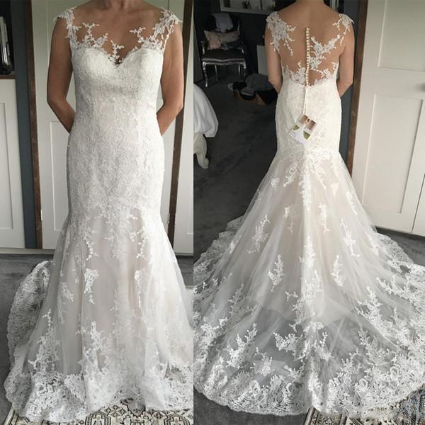 2019 nouvelle robe de mariée sirène dentelle modeste élégantes Illusion pure Jewel cou tribunal train capuchon manches de mariée robes de mariée sur mesure