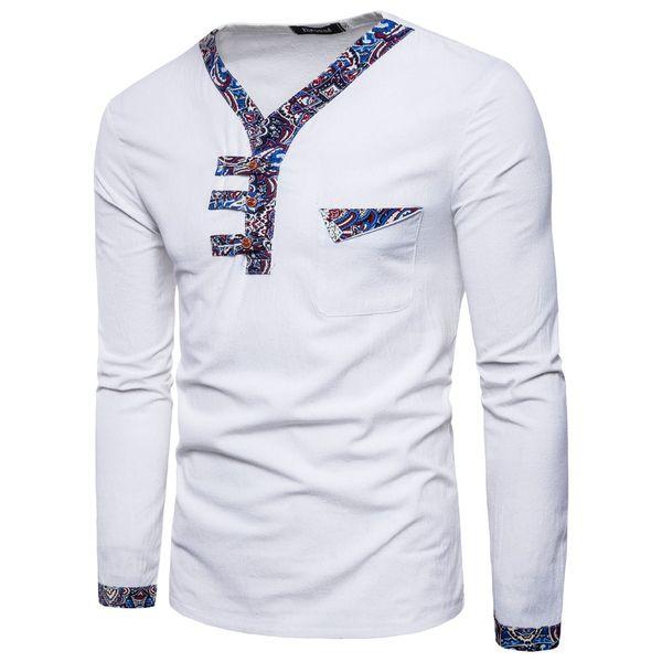 Moda-Primavera Longo Tee Novo Estilo Nacional dos homens V Collar Cor Linho de Algodão de Manga Longa T-shirt Masculino Top clothing