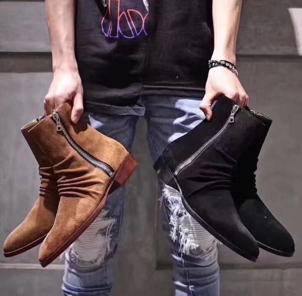 Männer Kurze 2019 Stiefeletten lancelot Quadratischer Niedriger Luxus Knöchel Schuhe Großhandel Stiefel Fr Farben Plissee Absatz Wildleder 3 oWxBrdCe