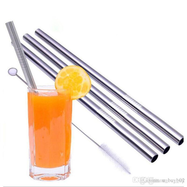200X Eco-Friendly Straight Metal Drinking Straw Stainless Steel Reusable Straws For Beer Fruit Juice Drink 24cm x 0.8cm