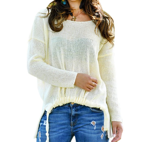 Compre Sweet 2019 Winter Sweater Mujeres Solid O Neck Pull Femme Casual Tassels Split Pullover Loose Trendy Tricot Sweater Jersey De Punto A 2482