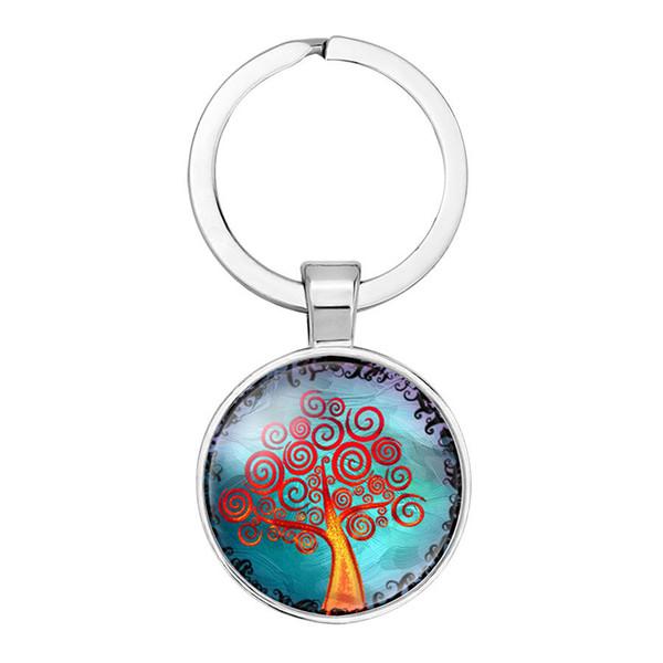 Jóias de comércio exterior DIY novo anel chaveiro pingente Life Tree tempo pedra preciosa anel chave de vidro