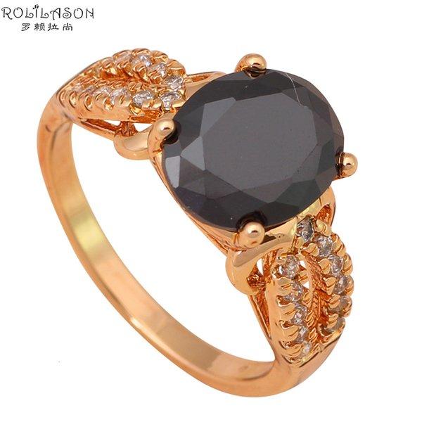 epoca gioielli tono popolare di modo Black Onyx dell'oro nichel piombo K placcatura anelli di cristallo formato # 6.5 # 5.5 JR1886